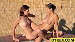 Beautiful Lesbos Play Outdoor